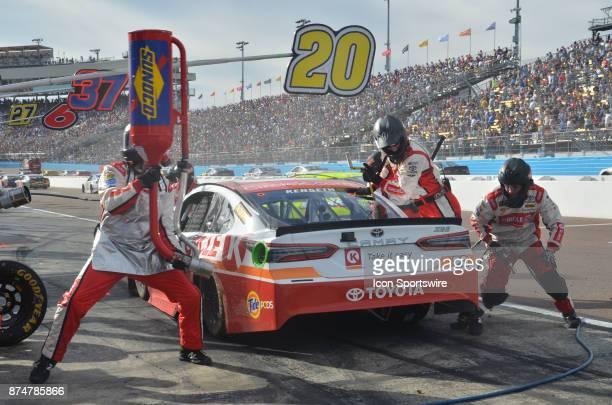 Matt Kenseth Circle K Toyota Joe Gibbs Racing pits for tires and fuel at the NASCAR Playoff Can Am 500 on November 12 2017 at the Phoenix...