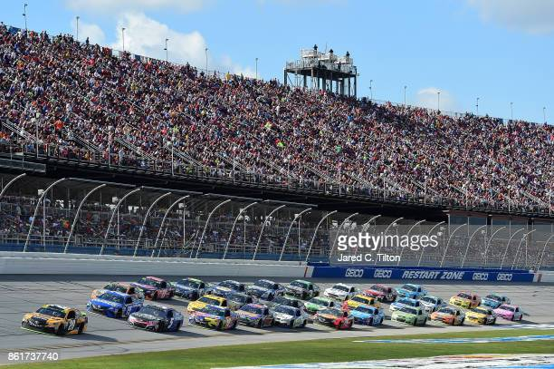 Matt Kenseth driver of the DEWALT FLEXVOLT Toyota leads a pack of cars during the Monster Energy NASCAR Cup Series Alabama 500 at Talladega...