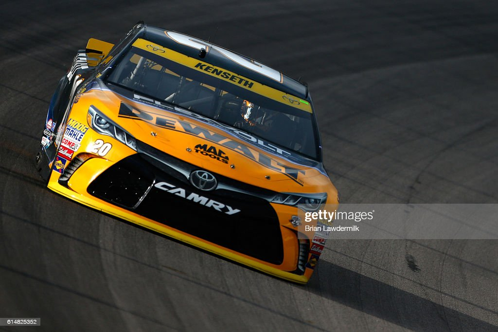 Matt Kenseth, driver of the #20 DEWALT FLEXVOLT Toyota, practices for the NASCAR Sprint Cup Series Hollywood Casino 400 at Kansas Speedway on October 15, 2016 in Kansas City, Kansas.