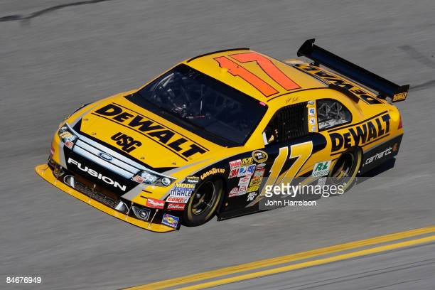 Matt Kenseth driver of the Dewalt Ford drives during practice for the Budweiser Shootout at Daytona International Speedway on February 6 2008 in...