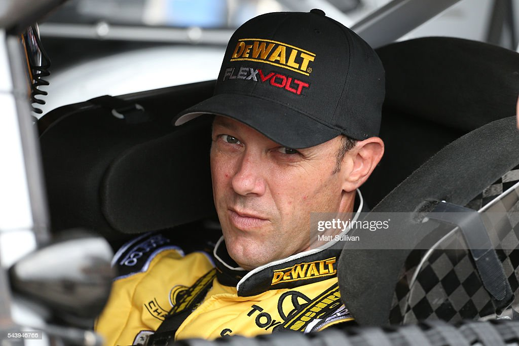 <a gi-track='captionPersonalityLinkClicked' href=/galleries/search?phrase=Matt+Kenseth&family=editorial&specificpeople=204192 ng-click='$event.stopPropagation()'>Matt Kenseth</a>, driver of the #20 DeWalt Toyota, sits in his car during practice for the NASCAR Sprint Cup Series Coke Zero 400 at Daytona International Speedway on June 30, 2016 in Daytona Beach, Florida.