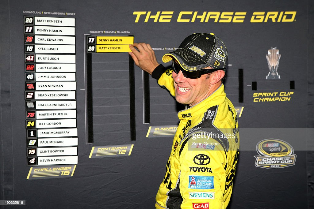 Matt Kenseth driver of the Dollar General Toyota advances his name on the Chase Grid board after winning the NASCAR Sprint Cup Series SYLVANIA 300 at...