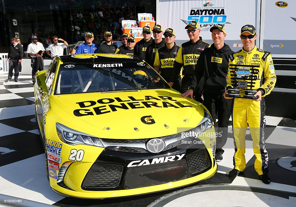<a gi-track='captionPersonalityLinkClicked' href=/galleries/search?phrase=Matt+Kenseth&family=editorial&specificpeople=204192 ng-click='$event.stopPropagation()'>Matt Kenseth</a>, driver of the #20 Dollar General Toyota, and his crew members pose after winning the Front Row Award after qualifying for the NASCAR Sprint Cup Series Daytona 500 at Daytona International Speedway on February 14, 2016 in Daytona Beach, Florida.