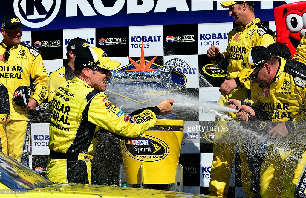 <a gi-track='captionPersonalityLinkClicked' href=/galleries/search?phrase=Matt+Kenseth&family=editorial&specificpeople=204192 ng-click='$event.stopPropagation()'>Matt Kenseth</a>, driver of the #20 Dollar General Toyota, celebrates in Victory Lane after winning the NASCAR Sprint Cup Series Kobalt Tools 400 at Las Vegas Motor Speedway on March 10, 2013 in Las Vegas, Nevada.