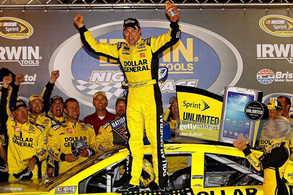 <a gi-track='captionPersonalityLinkClicked' href=/galleries/search?phrase=Matt+Kenseth&family=editorial&specificpeople=204192 ng-click='$event.stopPropagation()'>Matt Kenseth</a>, driver of the #20 Dollar General Toyota, celebrates in Victory Lane after winning the NASCAR Sprint Cup Series 53rd Annual IRWIN Tools Night Race at Bristol Motor Speedway on August 24, 2013 in Bristol, Tennessee.