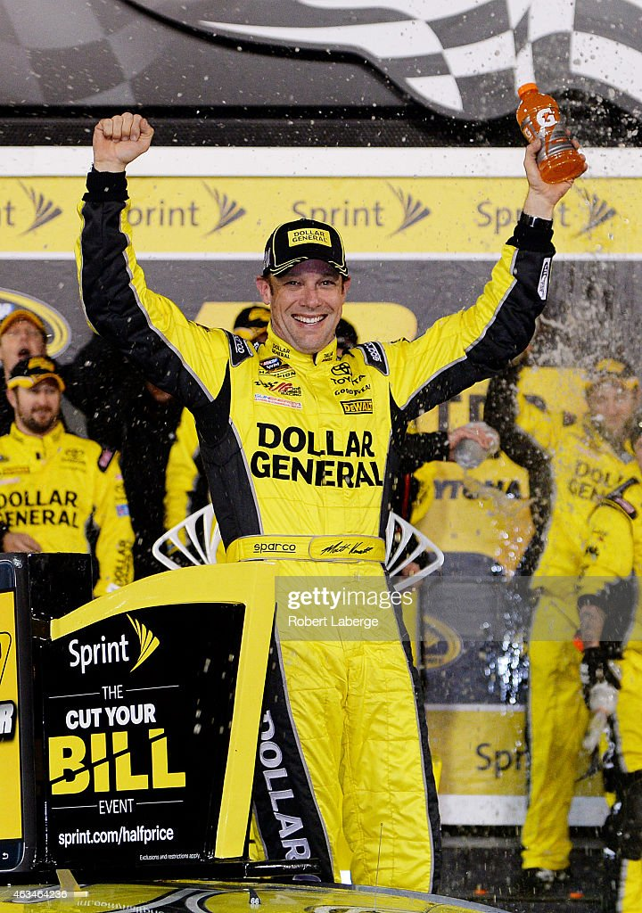 <a gi-track='captionPersonalityLinkClicked' href=/galleries/search?phrase=Matt+Kenseth&family=editorial&specificpeople=204192 ng-click='$event.stopPropagation()'>Matt Kenseth</a>, driver of the #20 Dollar General Toyota, celebrates in victory lane after winning the 3rd Annual Sprint Unlimited at Daytona at Daytona International Speedway on February 14, 2015 in Daytona Beach, Florida.