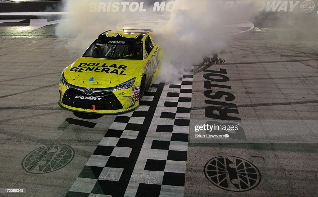 <a gi-track='captionPersonalityLinkClicked' href=/galleries/search?phrase=Matt+Kenseth&family=editorial&specificpeople=204192 ng-click='$event.stopPropagation()'>Matt Kenseth</a>, driver of the #20 Dollar General Toyota, celebrates with a burnout after winning the NASCAR Sprint Cup Series Food City 500 at Bristol Motor Speedway on April 19, 2015 in Bristol, Tennessee.