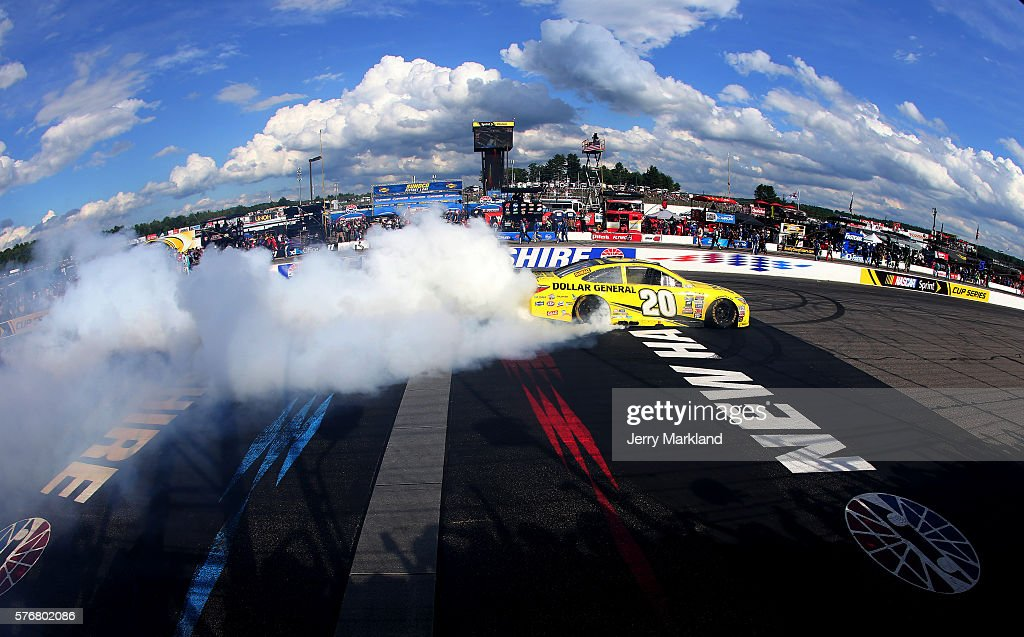 Matt Kenseth, driver of the #20 Dollar General Toyota, celebrates with a burnout after winning the NASCAR Sprint Cup Series New Hampshire 301 at New Hampshire Motor Speedway on July 17, 2016 in Loudon, New Hampshire.