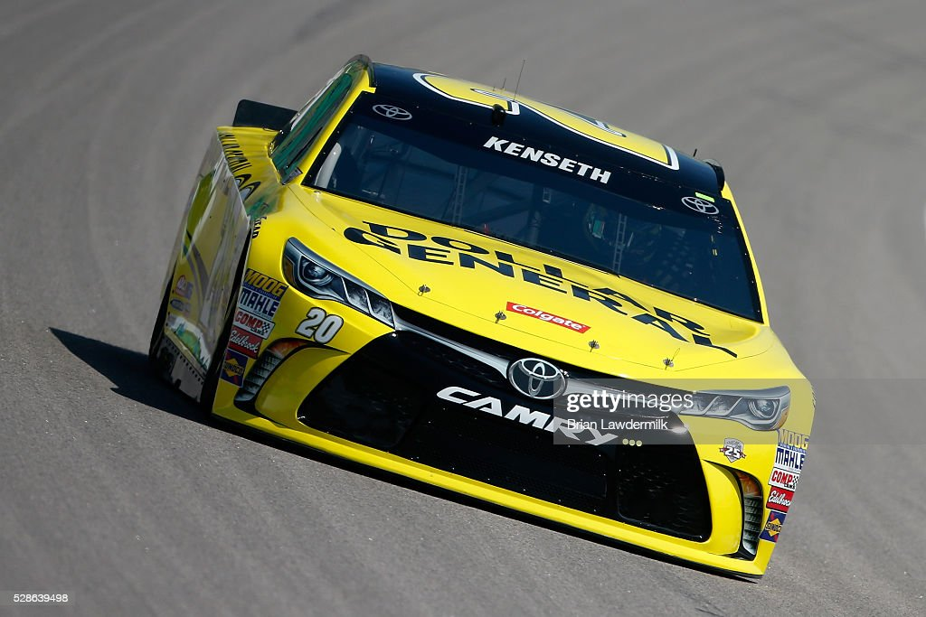 Matt Kenseth, driver of the #20 Dollar General Toyota, drives during practice for the NASCAR Sprint Cup Series Go Bowling 400 at Kansas Speedway on May 6, 2016 in Kansas City, Kansas.