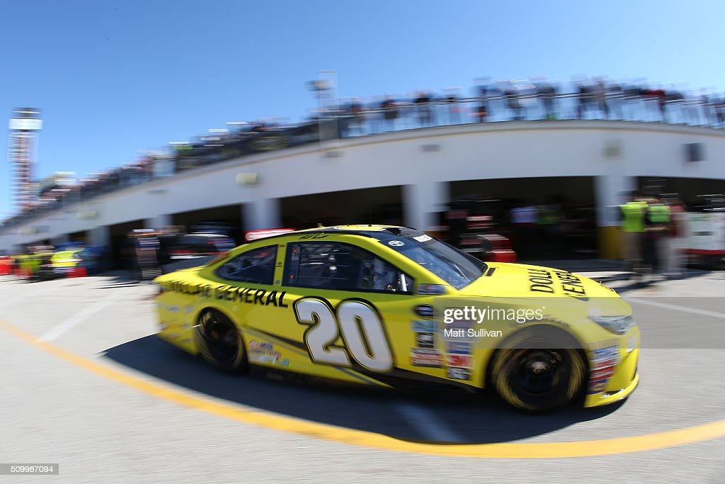 <a gi-track='captionPersonalityLinkClicked' href=/galleries/search?phrase=Matt+Kenseth&family=editorial&specificpeople=204192 ng-click='$event.stopPropagation()'>Matt Kenseth</a>, driver of the #20 Dollar General Toyota, drives through the garage area during practice for the NASCAR Sprint Cup Series Daytona 500 at Daytona International Speedway on February 13, 2016 in Daytona Beach, Florida.