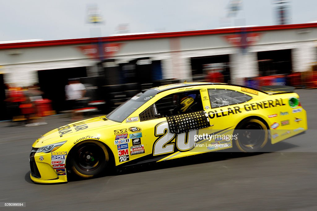 <a gi-track='captionPersonalityLinkClicked' href=/galleries/search?phrase=Matt+Kenseth&family=editorial&specificpeople=204192 ng-click='$event.stopPropagation()'>Matt Kenseth</a>, driver of the #20 Dollar General Toyota, drives through the garage area during practice for the NASCAR Sprint Cup Series GEICO 500 at Talladega Superspeedway on April 29, 2016 in Talladega, Alabama.