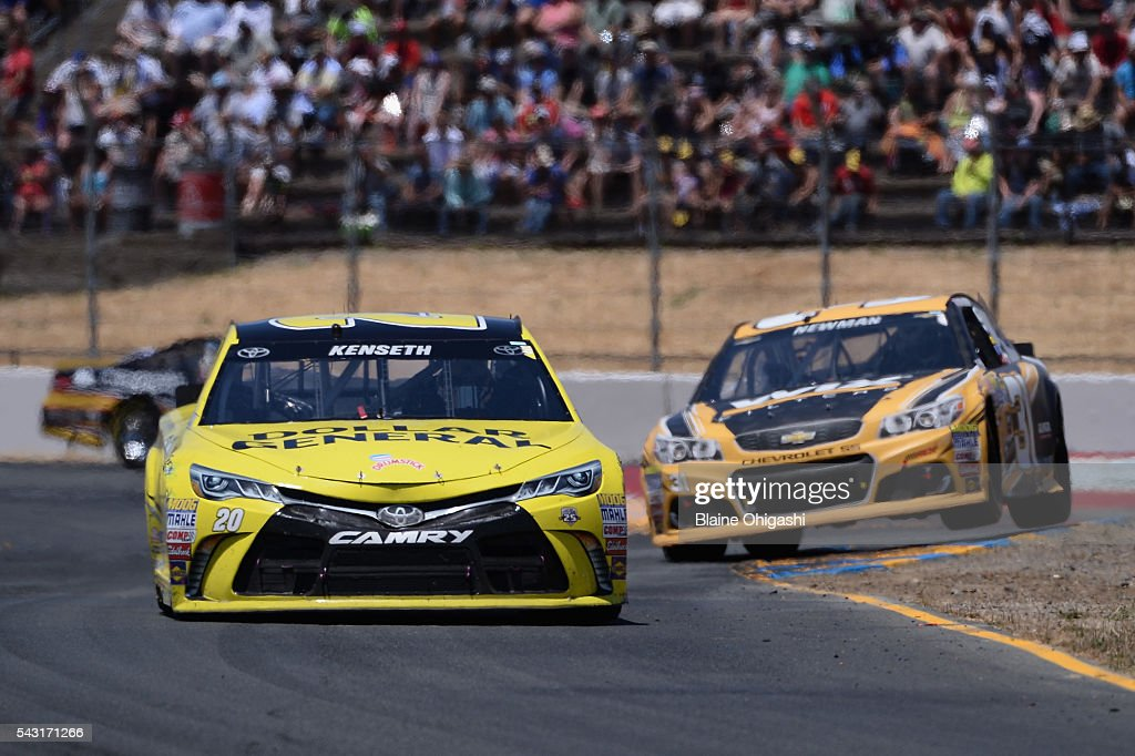 <a gi-track='captionPersonalityLinkClicked' href=/galleries/search?phrase=Matt+Kenseth&family=editorial&specificpeople=204192 ng-click='$event.stopPropagation()'>Matt Kenseth</a>, driver of the #20 Dollar General Toyota, leads a pack of cars during the NASCAR Sprint Cup Series Toyota/Save Mart 350 at Sonoma Raceway on June 26, 2016 in Sonoma, California.
