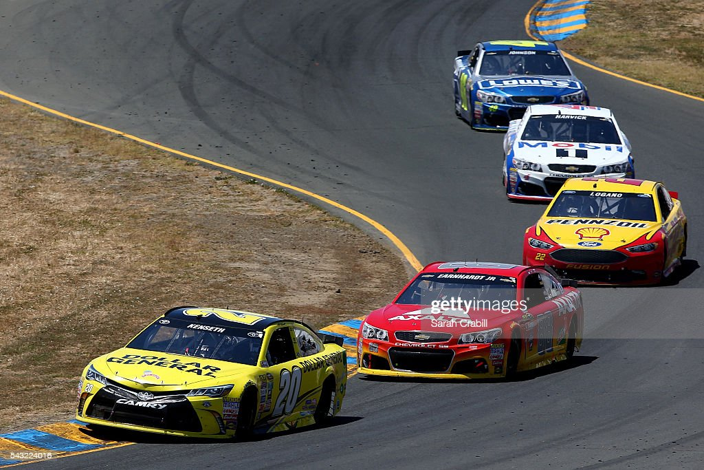 Matt Kenseth, driver of the #20 Dollar General Toyota, leads a pack of cars during the NASCAR Sprint Cup Series Toyota/Save Mart 350 at Sonoma Raceway on June 26, 2016 in Sonoma, California.