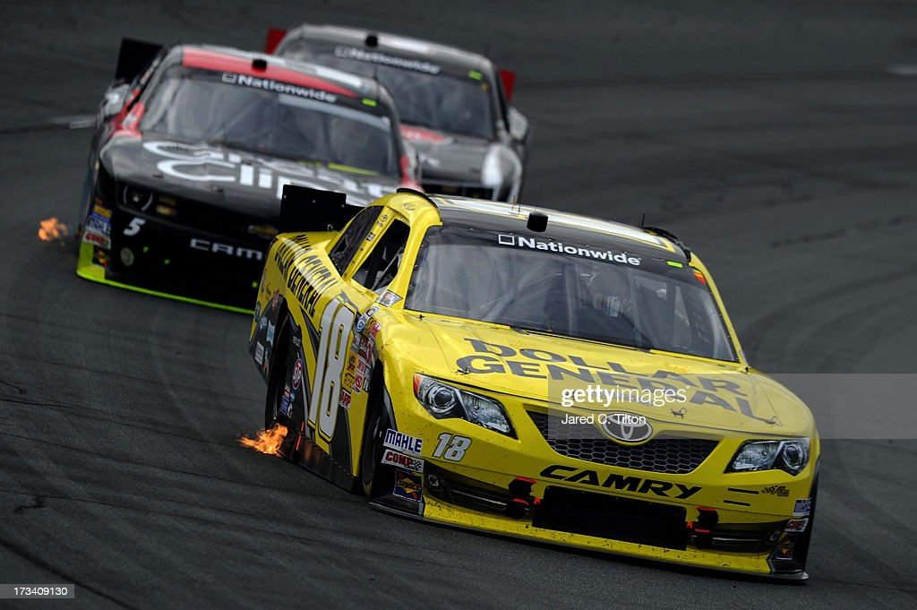 <a gi-track='captionPersonalityLinkClicked' href=/galleries/search?phrase=Matt+Kenseth&family=editorial&specificpeople=204192 ng-click='$event.stopPropagation()'>Matt Kenseth</a>, driver of the #18 Dollar General Toyota, leads <a gi-track='captionPersonalityLinkClicked' href=/galleries/search?phrase=Kasey+Kahne&family=editorial&specificpeople=183374 ng-click='$event.stopPropagation()'>Kasey Kahne</a>, driver of the #5 Great Clips Chevrolet, during the NASCAR Nationwide Series CNBC Prime's The Profit 200 at New Hampshire Motor Speedway on July 13, 2013 in Loudon, New Hampshire.