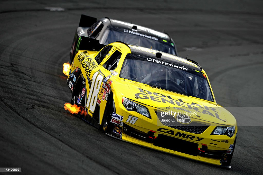 <a gi-track='captionPersonalityLinkClicked' href=/galleries/search?phrase=Matt+Kenseth&family=editorial&specificpeople=204192 ng-click='$event.stopPropagation()'>Matt Kenseth</a>, driver of the #18 Dollar General Toyota, leads <a gi-track='captionPersonalityLinkClicked' href=/galleries/search?phrase=Kyle+Busch&family=editorial&specificpeople=211123 ng-click='$event.stopPropagation()'>Kyle Busch</a>, driver of the #54 Monster Energy Toyota, during the NASCAR Nationwide Series CNBC Prime's The Profit 200 at New Hampshire Motor Speedway on July 13, 2013 in Loudon, New Hampshire.