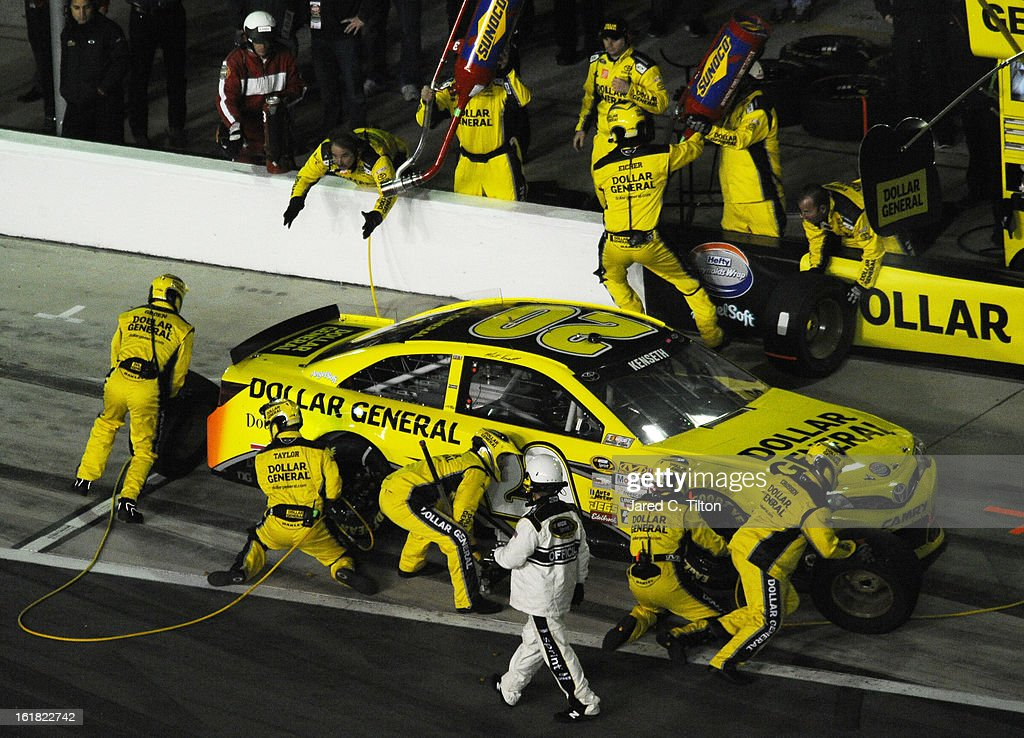 Matt Kenseth, driver of the #20 Dollar General Toyota, pits during the NASCAR Sprint Cup Series Sprint Unlimited at Daytona International Speedway on February 16, 2013 in Daytona Beach, Florida.