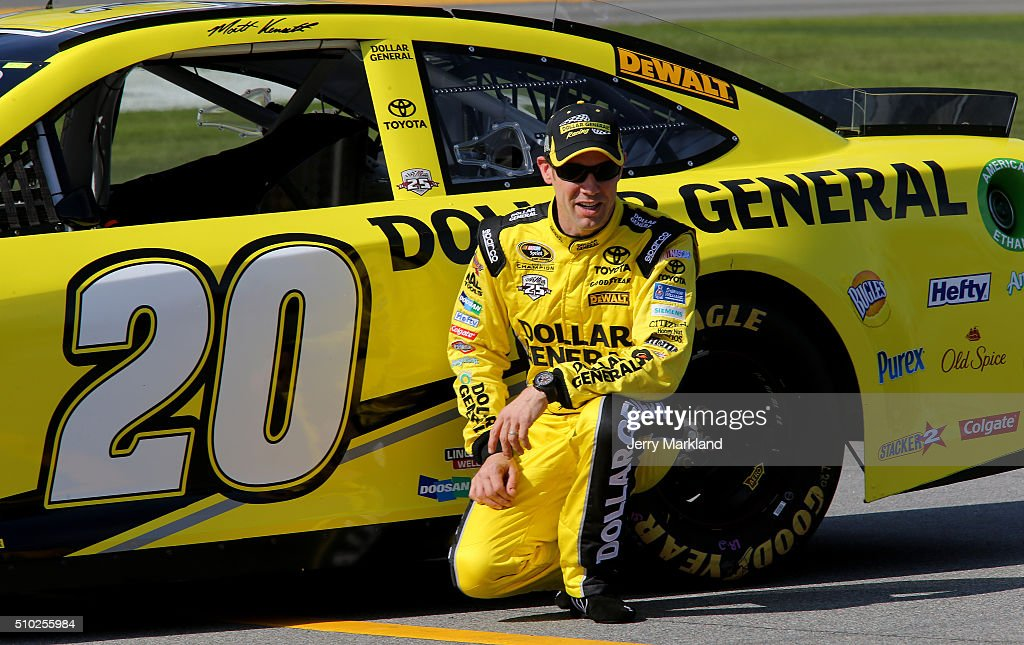 <a gi-track='captionPersonalityLinkClicked' href=/galleries/search?phrase=Matt+Kenseth&family=editorial&specificpeople=204192 ng-click='$event.stopPropagation()'>Matt Kenseth</a>, driver of the #20 Dollar General Toyota, poses after qualifying for the Front Row in the NASCAR Sprint Cup Series Daytona 500 at Daytona International Speedway on February 14, 2016 in Daytona Beach, Florida.