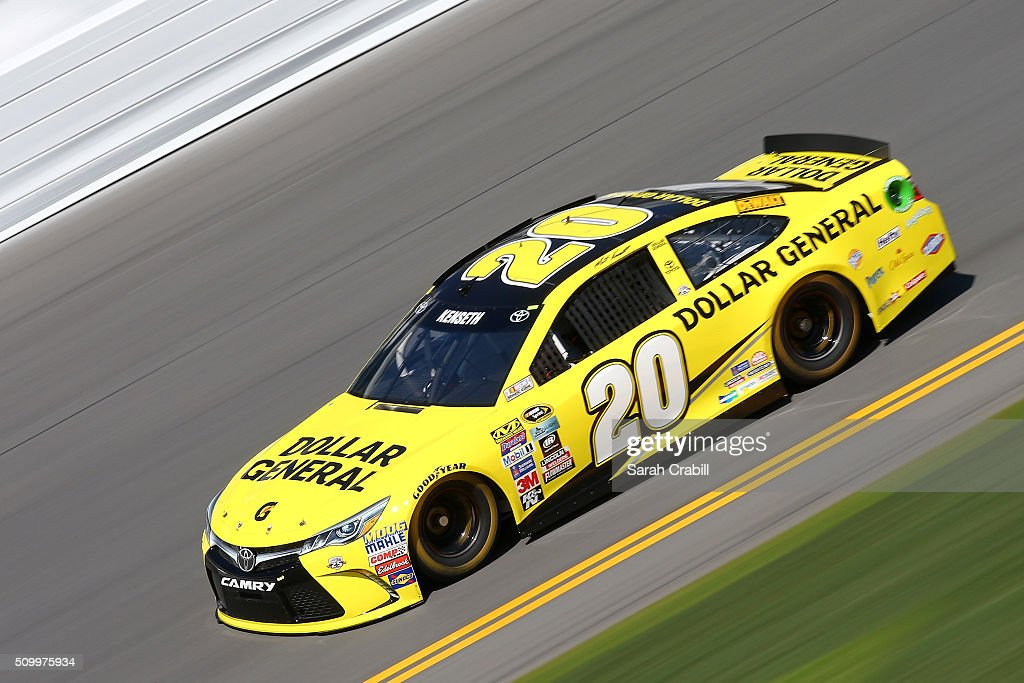 <a gi-track='captionPersonalityLinkClicked' href=/galleries/search?phrase=Matt+Kenseth&family=editorial&specificpeople=204192 ng-click='$event.stopPropagation()'>Matt Kenseth</a>, driver of the #20 Dollar General Toyota, practices for the NASCAR Sprint Cup Series Daytona 500 at Daytona International Speedway on February 13, 2016 in Daytona Beach, Florida.