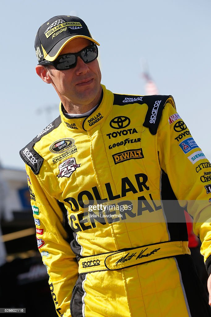 <a gi-track='captionPersonalityLinkClicked' href=/galleries/search?phrase=Matt+Kenseth&family=editorial&specificpeople=204192 ng-click='$event.stopPropagation()'>Matt Kenseth</a>, driver of the #20 Dollar General Toyota, prepares to drive during practice for the NASCAR Sprint Cup Series Go Bowling 400 at Kansas Speedway on May 6, 2016 in Kansas City, Kansas.