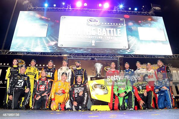Matt Kenseth driver of the Dollar General Toyota Ryan Newman driver of the Caterpillar Chevrolet Carl Edwards driver of the ARRIS Toyota Paul Menard...