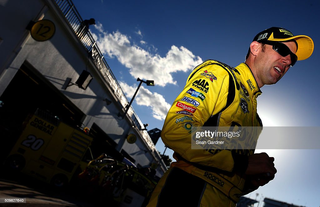 <a gi-track='captionPersonalityLinkClicked' href=/galleries/search?phrase=Matt+Kenseth&family=editorial&specificpeople=204192 ng-click='$event.stopPropagation()'>Matt Kenseth</a>, driver of the #20 Dollar General Toyota, stands in the garage area during practice for the NASCAR Sprint Cup Series Sprint Unlimited at Daytona International Speedway on February 12, 2016 in Daytona Beach, Florida.