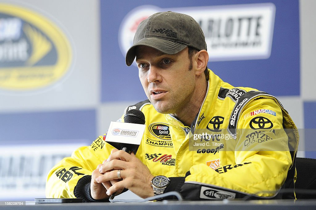 Matt Kenseth, driver of the #20 Dollar General/Home Depot Toyota, speaks with the media during testing at Charlotte Motor Speedway on December 11, 2012 in Concord, North Carolina.