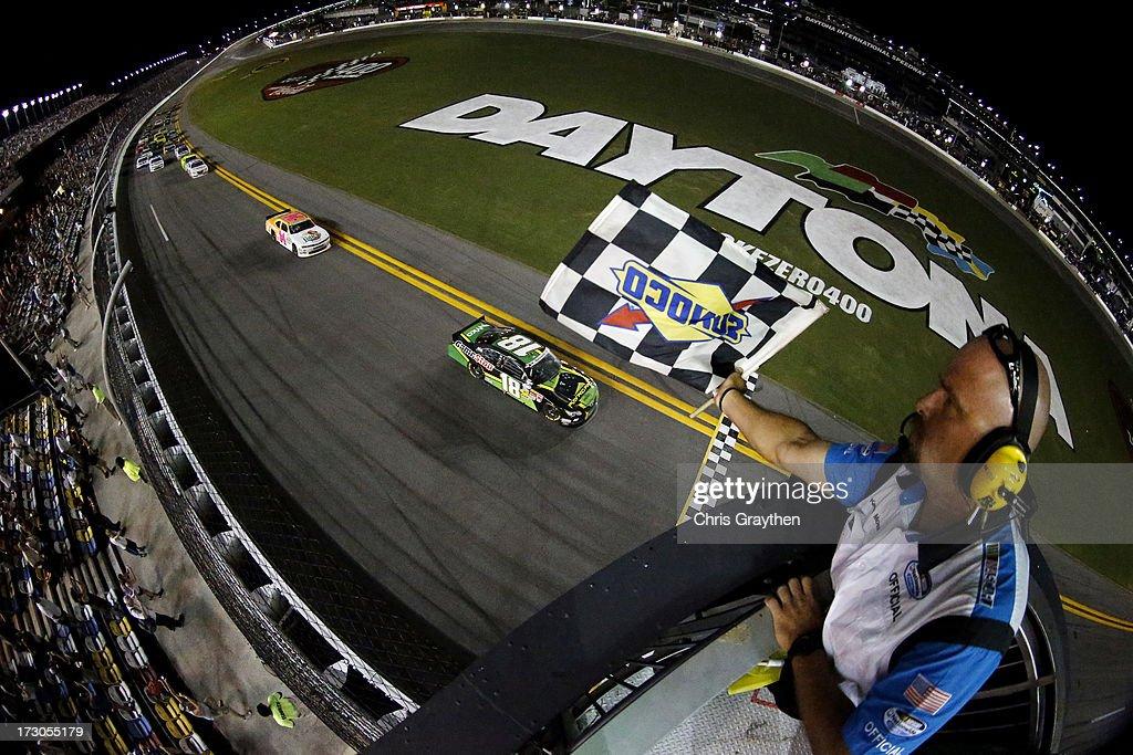 Matt Kenseth, driver of the #18 GameStop Toyota, crosses the finish to win the NASCAR Nationwide Series Subway Firecracker 250 at Daytona International Speedway on July 5, 2013 in Daytona Beach, Florida.