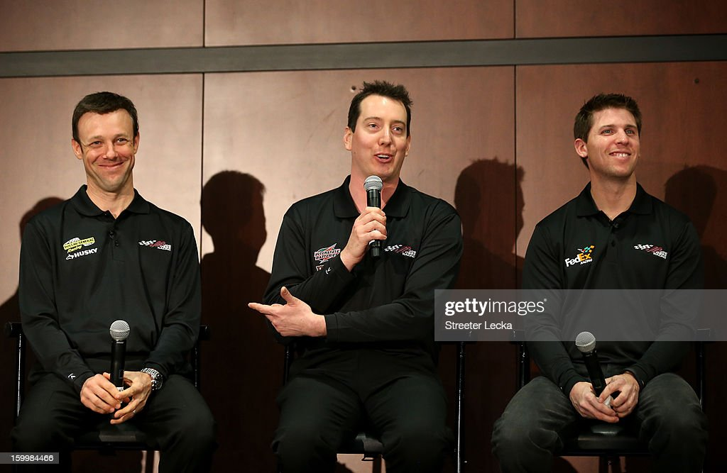 <a gi-track='captionPersonalityLinkClicked' href=/galleries/search?phrase=Matt+Kenseth&family=editorial&specificpeople=204192 ng-click='$event.stopPropagation()'>Matt Kenseth</a>, <a gi-track='captionPersonalityLinkClicked' href=/galleries/search?phrase=Kyle+Busch&family=editorial&specificpeople=211123 ng-click='$event.stopPropagation()'>Kyle Busch</a> and <a gi-track='captionPersonalityLinkClicked' href=/galleries/search?phrase=Denny+Hamlin&family=editorial&specificpeople=504674 ng-click='$event.stopPropagation()'>Denny Hamlin</a> drivers for Joe Gibbs Racing speak to the media during the 2013 NASCAR Sprint Media Tour on January 24, 2013 in Concord, North Carolina.
