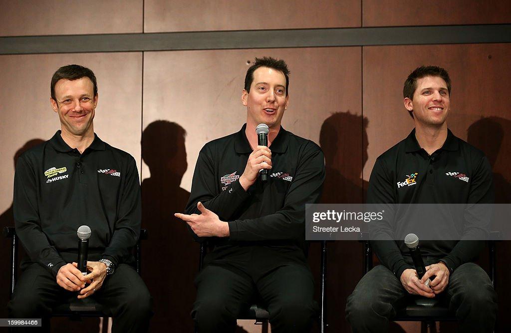 Matt Kenseth, Kyle Busch and Denny Hamlin drivers for Joe Gibbs Racing speak to the media during the 2013 NASCAR Sprint Media Tour on January 24, 2013 in Concord, North Carolina.