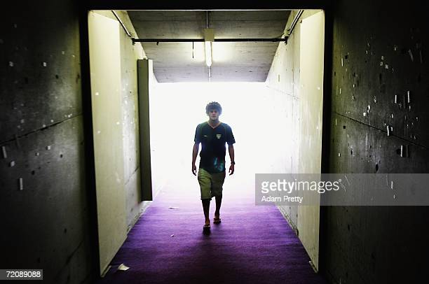 Matt King of the Kangaroos walks down the tunnel during the Australian Kangaroos squad assembly prior to the TriNations Series at Aussie Stadium on...