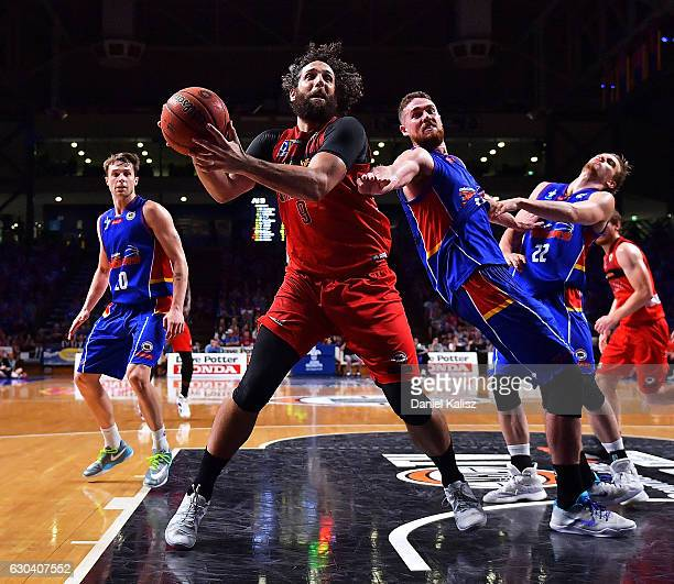 Matt Knight of the Perth Wildcats rebounds during the round 12 NBL match between the Adelaide 36ers and the Perth Wildcats at Titanium Security Arena...