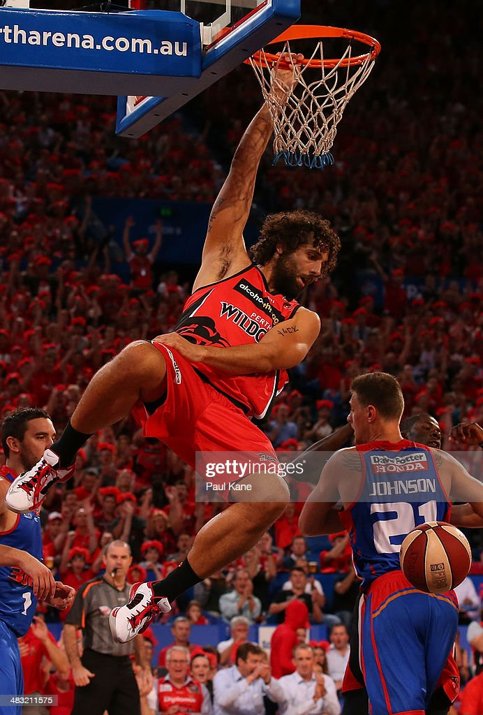 <a gi-track='captionPersonalityLinkClicked' href=/galleries/search?phrase=Matt+Knight&family=editorial&specificpeople=4150958 ng-click='$event.stopPropagation()'>Matt Knight</a> of the Wildcats dunks the ball during game one of the NBL Grand Final series between the Perth Wildcats and the Adelaide 36ers at Perth Arena on April 7, 2014 in Perth, Australia.