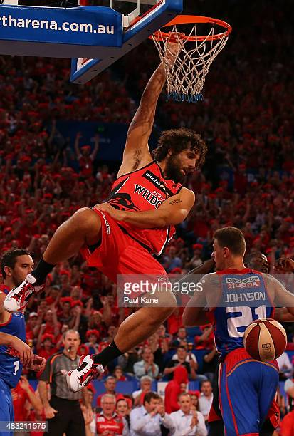 Matt Knight of the Wildcats dunks the ball during game one of the NBL Grand Final series between the Perth Wildcats and the Adelaide 36ers at Perth...