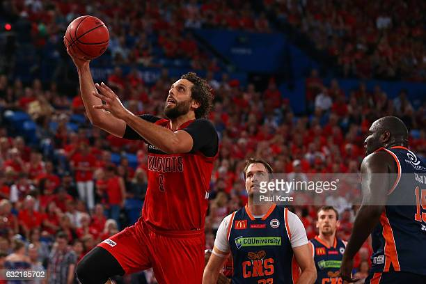 Matt Knight of the Wildcats laysup during the round 16 NBL match between the Perth Wildcats and the Cairns Taipans at Perth Arena on January 20 2017...