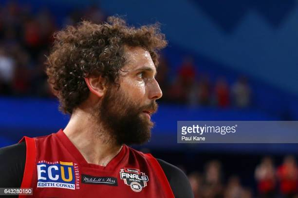 Matt Knight of the Wildcats looks on during the game two NBL Semi Final match between the Perth Wildcats and Cairns Taipans at Perth Arena on...