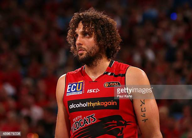 Matt Knight of the Wildcats looks on during the NBL round eight game between the Perth Wildcats and the Cairns Taipans at Perth Arena on November 28...