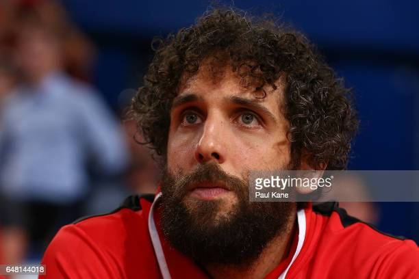 Matt Knight of the Wildcats looks on from the bench during game three of the NBL Grand Final series between the Perth Wildcats and the Illawarra...