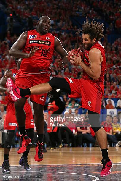Matt Knight of the Wildcats pulls down a rebound during the round two NBL match between the Perth Wildcats and the New Zealand Breakers at the Perth...
