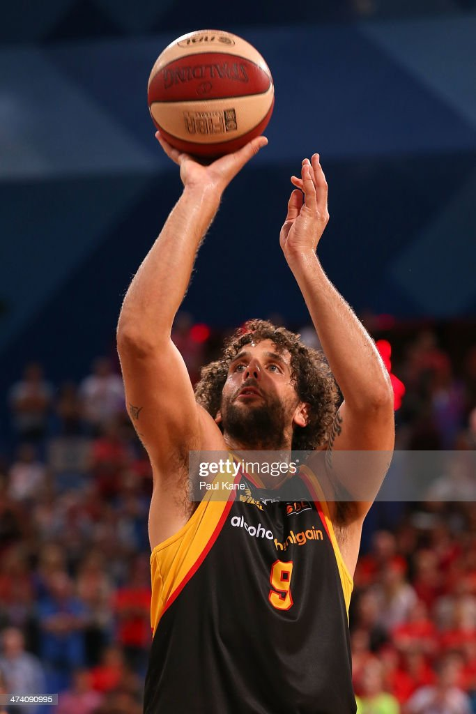 Matt Knight of the Wildcats shoots a free throw during the round 19 NBL match between the Perth Wildcats and the Melbourne Tigers at Perth Arena on February 21, 2014 in Perth, Australia.