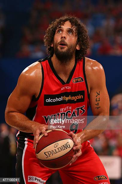 Matt Knight of the Wildcats shoots a free throw during the round 21 NBL match between the Perth Wildcats and the Townsville Crocodiles at Perth Arena...