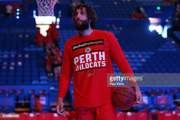 Matt Knight of the Wildcats warms up before the round eight NBL match between the Perth Wildcats and the Illawarra Hawks at the Perth Arena on...