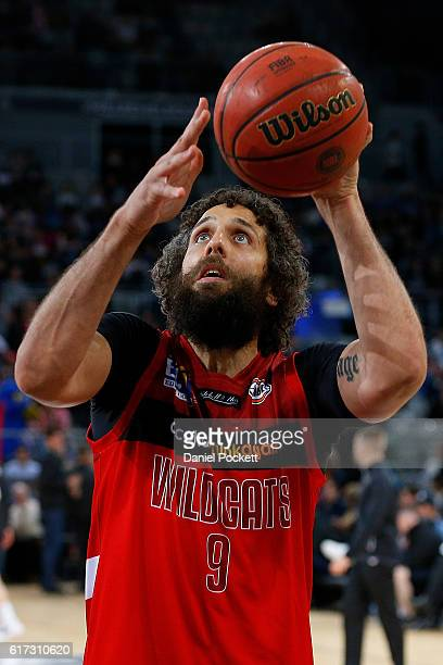 Matt Knight of the Wildcats warms up before the round three NBL match between Melbourne United and the Perth Wildcats at Hisense Arena on October 23...