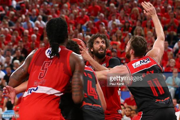 Matt Knight of the Wildcats works to the basket during game one of the NBL Grand Final series between the Perth Wildcats and the Illawarra Hawks at...
