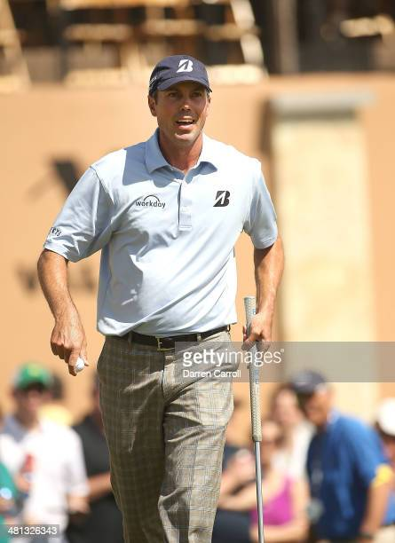 Matt Kuchar birdies on the 18th during Round Three of the Valero Texas Open at TPC San Antonio ATT Oaks Course on March 29 2014 in San Antonio Texas