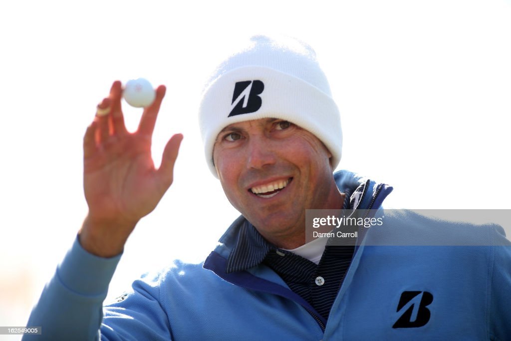 Matt Kuchar celebrates after he made a putt on the 13th hole during the final round of the World Golf Championships - Accenture Match Play at the Golf Club at Dove Mountain on February 24, 2013 in Marana, Arizona.