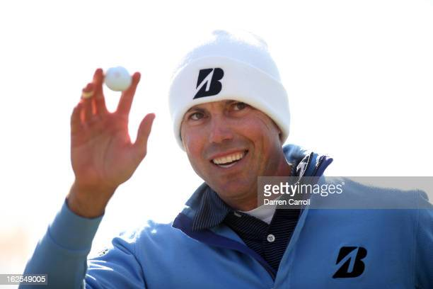 Matt Kuchar celebrates after he made a putt on the 13th hole during the final round of the World Golf Championships Accenture Match Play at the Golf...