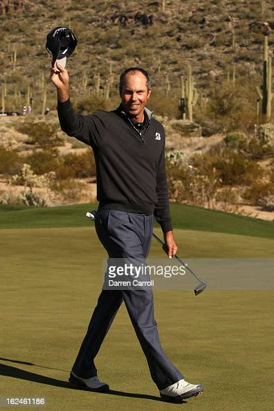Matt Kuchar celebrates after he won his match 3 and 2 in 16 holes against Robert Garrigus during the quarterfinal round of the World Golf...
