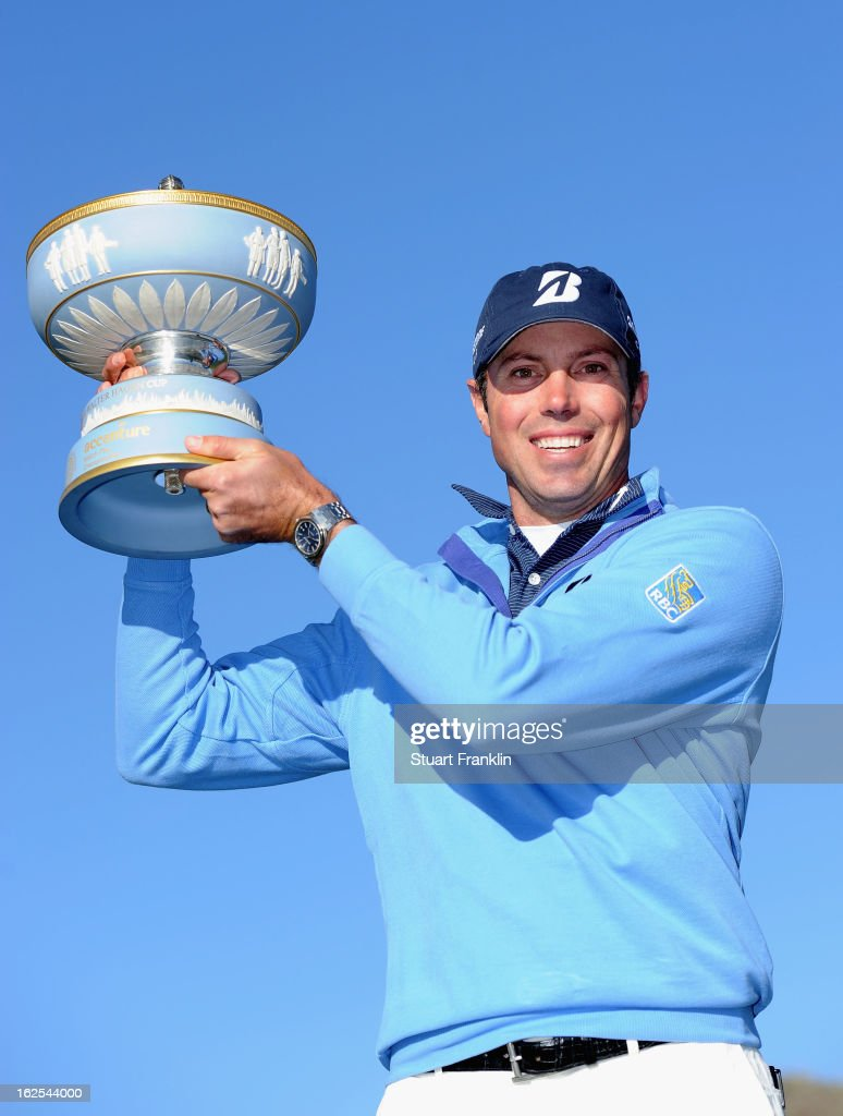 <a gi-track='captionPersonalityLinkClicked' href=/galleries/search?phrase=Matt+Kuchar&family=editorial&specificpeople=243226 ng-click='$event.stopPropagation()'>Matt Kuchar</a> celebrates with the trophy after he won the championship match against Hunter Mahan during the final round of the World Golf Championships - Accenture Match Play at the Golf Club at Dove Mountain on February 24, 2013 in Marana, Arizona.