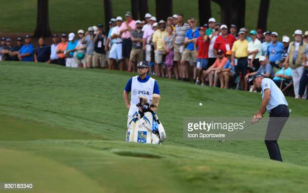 Matt Kuchar chips onto the 10th green during the second round of the PGA Championship on August 11 2017 at Quail Hollow Golf Club in Charlotte NC