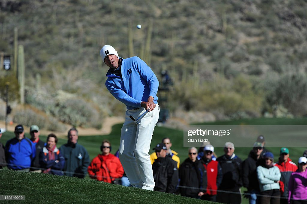 Matt Kuchar chips onto the 11th green during the final round of the World Golf Championships-Accenture Match Play Championship at The Golf Club at Dove Mountain on February 24, 2013 in Marana, Arizona.
